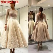 цена 2019 Sequined Tulle V Back Prom Dress Appliqued Long Sleeves Beaded Party Evening Dress Vestido De Fiesta Tea Length Formal Gown