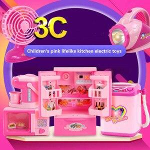Image 5 - Kinder mini Pädagogisches Küche Spielzeug Rosa Haushalts Geräte Kinder Spielen Küche Für Kinder Mädchen Geschenk Spielzeug Dropshipping