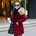 2016 Women's Winter Coats Warm Fur Collar Hooded Down Cotton Winter Jacket Women Coat Female New Medium Long Slim Parka WUJ0432