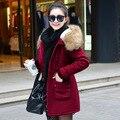 2016 das Mulheres Casacos de Inverno Quente Gola De Pele Com Capuz Para Baixo Algodão Mulheres Jaqueta de inverno Casaco Feminino Nova Parka de Médio e Longo Fino WUJ0432