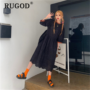 Image 2 - RUGOD vestido midi de encaje bordado para verano, elegante vestido con volantes para mujer, estilo coreano chi, para fiesta en la playa