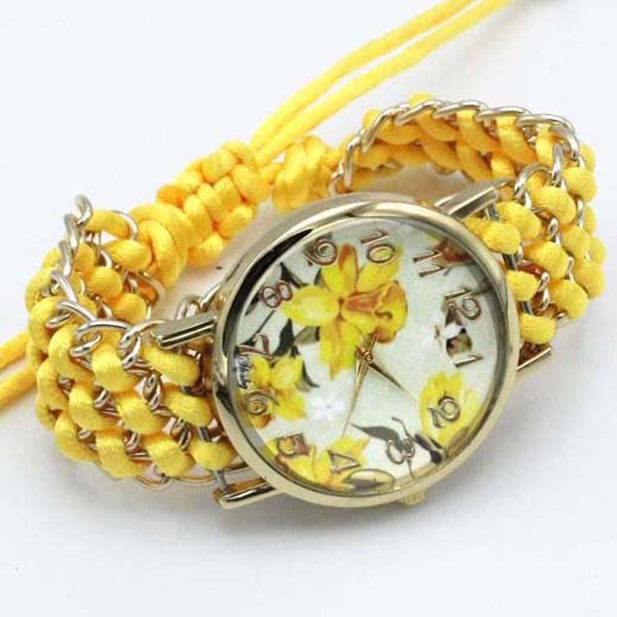 shsby nya Ladies Flower hand-stickade armbandsur guld kvinnor - Damklockor - Foto 3