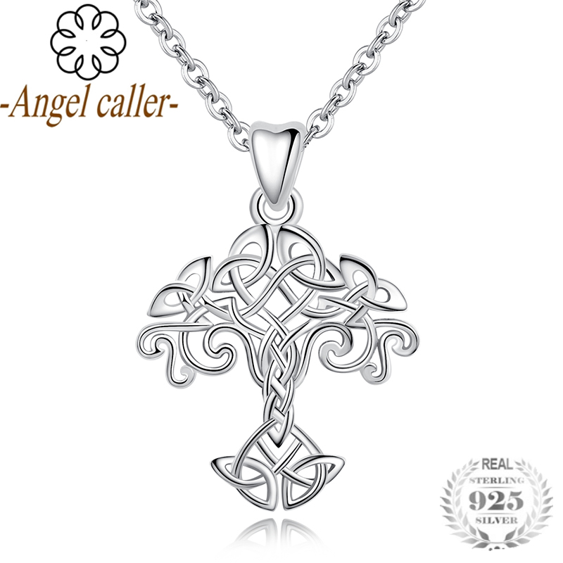 Angel Caller 925 Sterling Silver Tree of Life Pendant Necklace with Celtics Knot Design Silver Jewelry Chain Family Tree Pendant