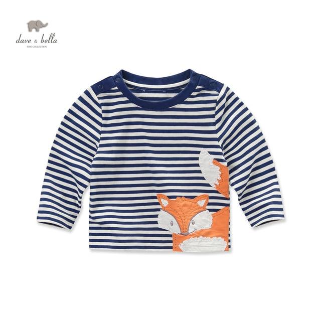 DB3816 davebella осень мальчики вмс футболка bos полосатые тройники fox kids топы мальчики хлопок животных футболка