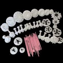 Wholesale Random Color New 47 Pcs Sets DIY Sugar Craft Cake Decorating Fondant Icing Plunger Tools Cookie Mold Mould(China)