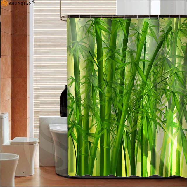 Best Bamboos Shower Curtain Spa Decor Mildew Resistant Bathroom Zen Garden Theme View For Big 180X200cm