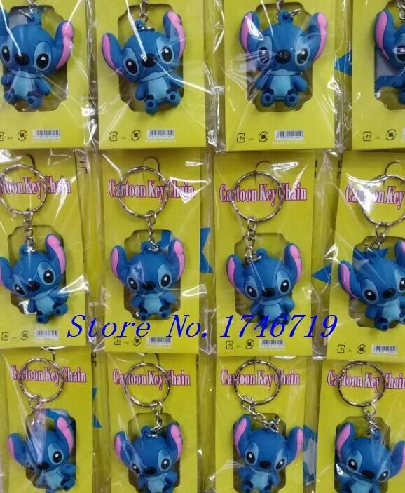 New 5sets 12pcs set Stitch 3D PVC Key Ring Cartoon Keychains Bag Pendant For Best Gift