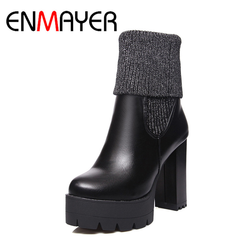 ФОТО ENMAYER 2 Wear High Heels Classic Black Shoes Woman Winter Short Boots Platform Shoes Ankle Boots for Women Riding Boots Shoes