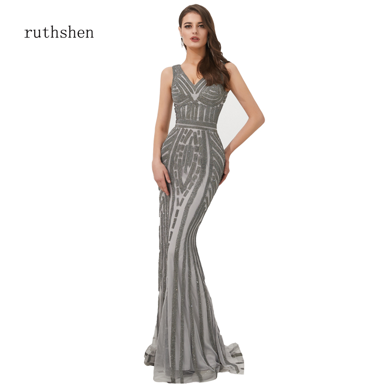 ruthshen Bridal   Evening     Dress   V-Neck Beads Bodice Open Back Long Cristal Mermaid   Dresses   Vestido De Festa Fast Shipping Frocks