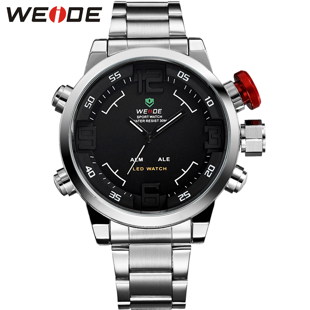 WEIDE Luxury Silver Stainless Steel Watch Men Quartz Digital LED Dual Movement Alarm Auto Date Waterproof Fashion Casual Clock new men stainless steel gold watch luxury brand auto date mens quartz clock roman scale sports wrist watches relogio masculino