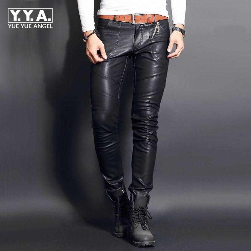 High Quality Faux Sheepskin Leather Punk Male Trousers Rock Skinny Pants Men Casual Slim Fit Biker Autumn Winter Pantalon Homme