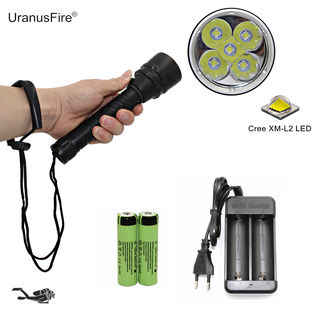 Scuba Light Diving Flashlight Underwater Dive Torch 5x L2 Cree XM-L2 LED Rechargeable Flashlight + 18650 Battery + EU/US Charger waterproof diving flashlight scuba light dive torch 5x cree xm l2 led underwater flashlight lanterna 26650 battery charger