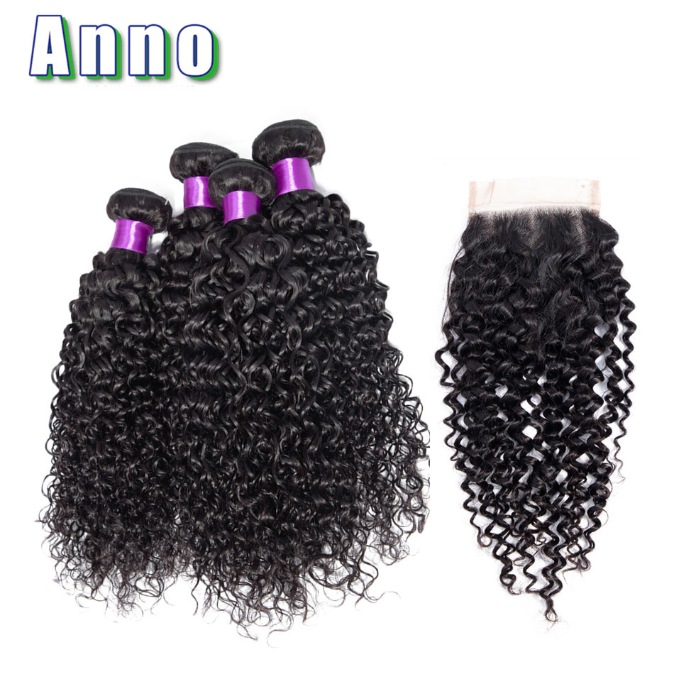 Anno Curly Hair 4 Bundles With Closure Peruvian Hair Weave Middle Free Three Part Natural Color