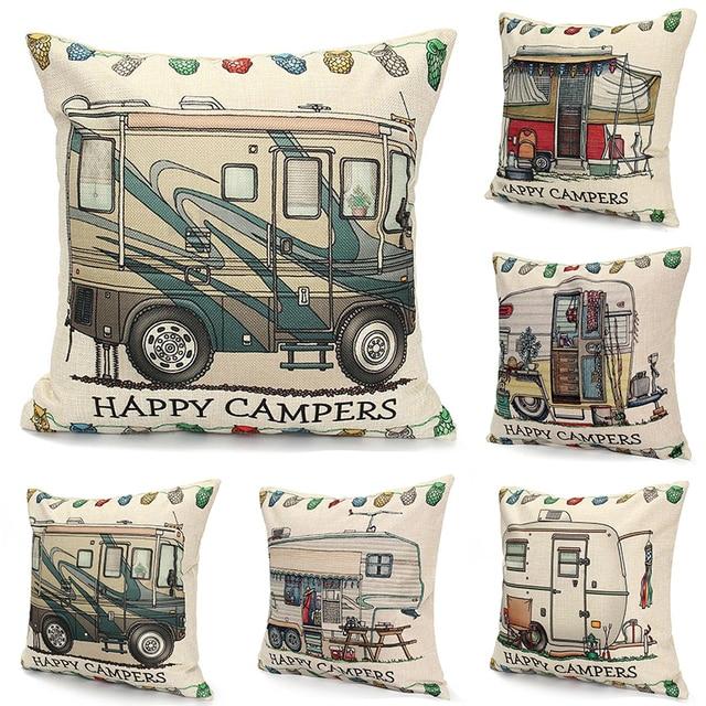 Cuscino di lino Happy Camper Lettera di Copertura Auto Del Cuscino Caso Cuscino