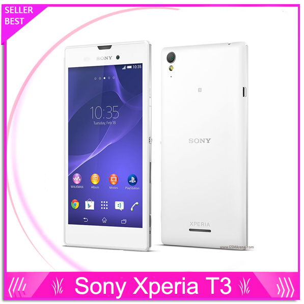 """Original Sony Xperia T3 Unlocked Phone 5.3"""" Touch Screen Quad Core 1GB RAM 8GB ROM 8MP Camera 3G&4G GSM WIFI GPS Android Phone"""