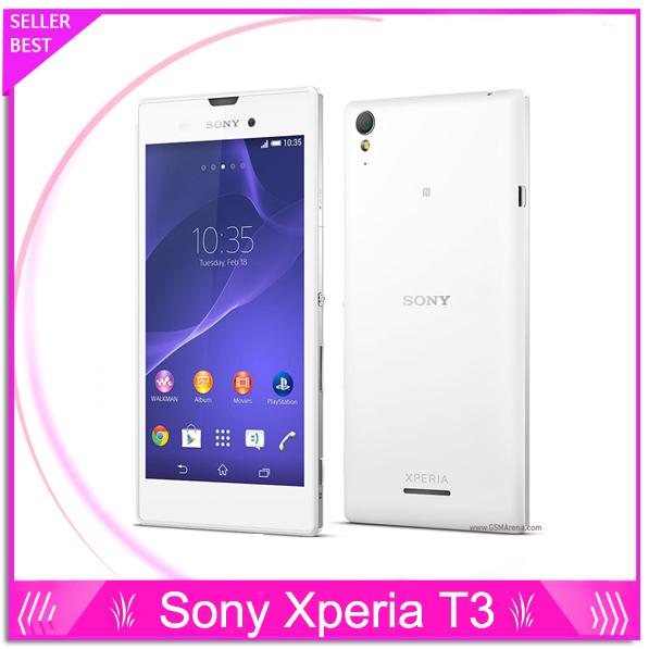 "Original sony xperia t3 teléfono desbloqueado 5.3 ""Pantalla táctil Quad Core 1 GB RAM 8 GB ROM Cámara de 8MP 3G y 4G GSM WIFI GPS Teléfono Android"