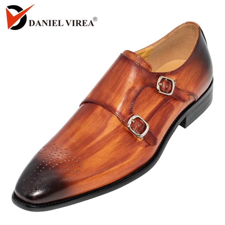 手作りオフィスビジネス結婚式のスーツドレスローファーブラウン高級ダブルバックル正式な本革の男性の靴  グループ上の 靴 からの 正式な靴 の中 1