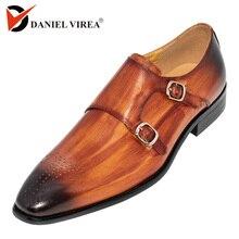 sapatos masculino social bico fino couro Dupla fivela Feitas à mão Marrom Amarelo Sapatos de couro vaca