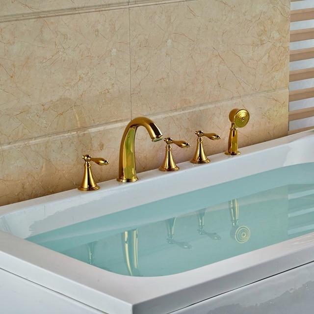 Deck Mounted Brass Golden Polish Tub Faucet Bathroom 5pcs Taps ...