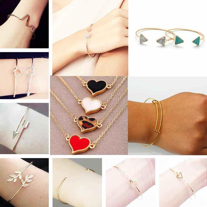 Women Bangles Open Cuff Bracelets Bangle for Men Jewelry Punk Black Gold Silver Metal Fashion Love Heart Charm Bracelet