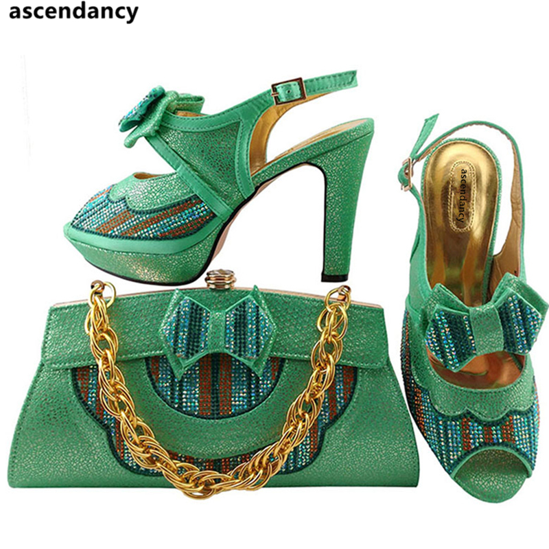 Dark oro green Agua De rosado Rhinestone Blue Juego Bolsas A Última peach Y azul Conjunto Real Verde Zapatos La rojo Nigeriano Italia Color Bolsa Con Decorado TgqdwfH