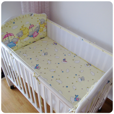 Promoção! 5 pcs malha respirável 3d bedding set moda dos desenhos animados do bebê crib bumper, incluem (4 amortecedores + ficha)