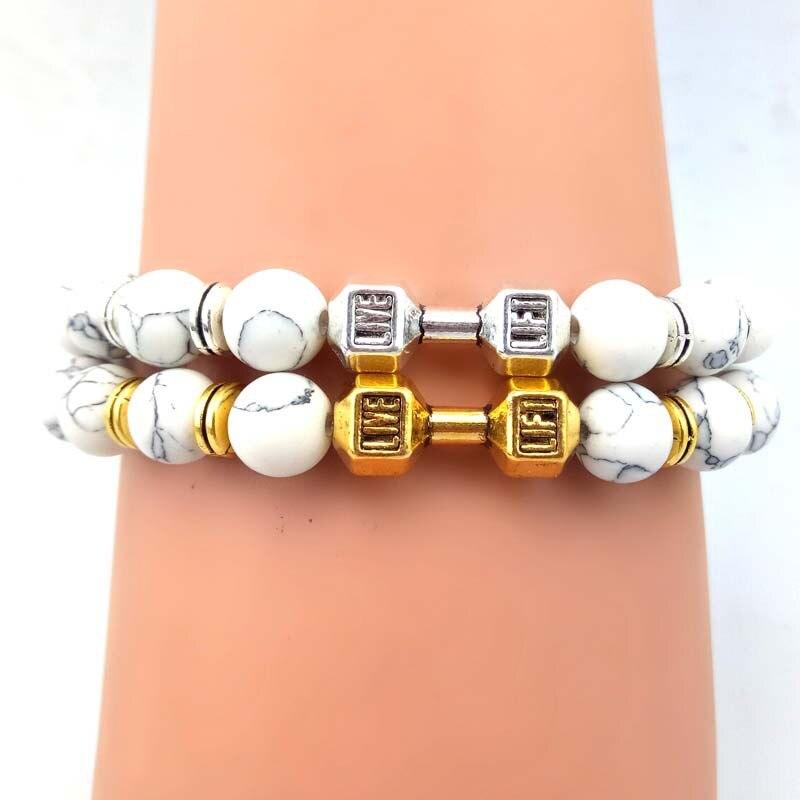 LANWAYLUCKY 8mm Natural Stone Beads Yoga Energy Bracelet Volcano Lava Metal Dumbbell Bracelets As Jewelry Gift For Men Christmas