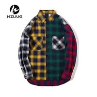 Color Block Patchwork Turn Down Collar Men S Shirt 2017 Flannel Plaid Hip Hop Shirts Men