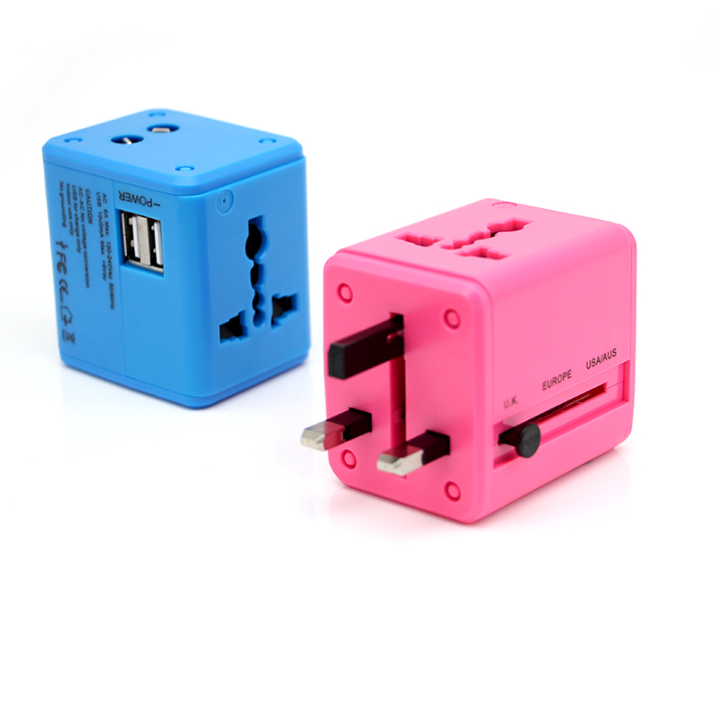 Купить с кэшбэком International Travel Adapter Multiple color Electric Plug Power Universal Socket Adapter USB Power Charger Converter EU UK US AU