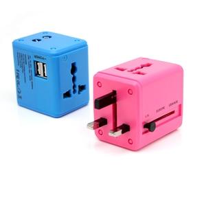 Image 5 - International Travel Adapter Mehrere farbe Elektrische Plug Power Universelle Buchse Adapter USB Power Charger Konverter EU UK US AU