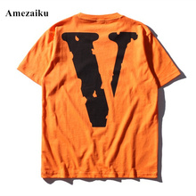 t shirt V letter printing short sleeve cotton loose black orange t-shirts men's casual brand clothing  Amezaiku 2017 summer tees
