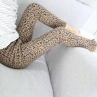 Girls plus velvet leopard slim leggings 2018 winter new children's Korean version of the wild feet pants