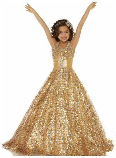 f9b20223dcea Cute Sparkly Sequins Gold Halter A line Sequin Pageant Dresses Girl ...