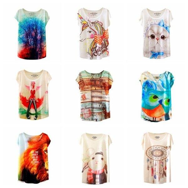 HTB1f6nlNFXXXXciaXXXq6xXFXXX1 - Fashion Summer Animal Cat Print Shirt O-Neck Short Sleeve