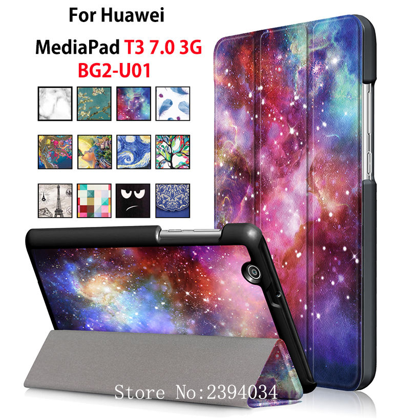 PU Leather fashion Case for Huawei MediaPad T3 7.0 3G BG2-U01 BG2-U03 Smart Cover Stand Funda Tablet Flip Protective Shell