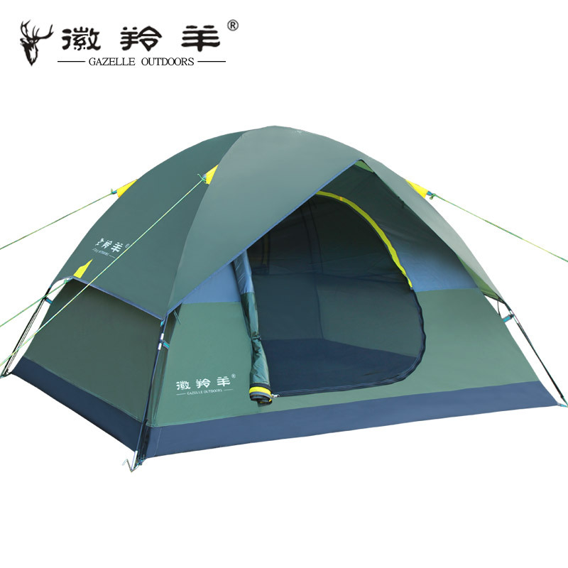 Emblem antelope outdoor tent camping Waterproof 3-4 person double layer multiplayer double wild camping tent high quality outdoor 2 person camping tent double layer aluminum rod ultralight tent with snow skirt oneroad windsnow 2 plus