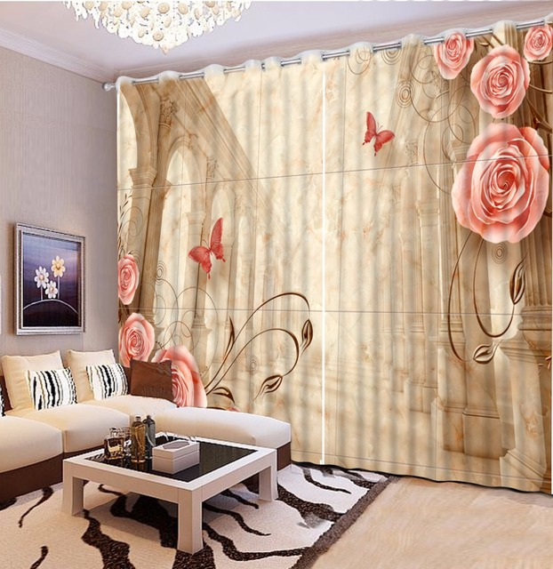 Europese Romantische Sheer Gordijnen Romantische Roze Rose ...