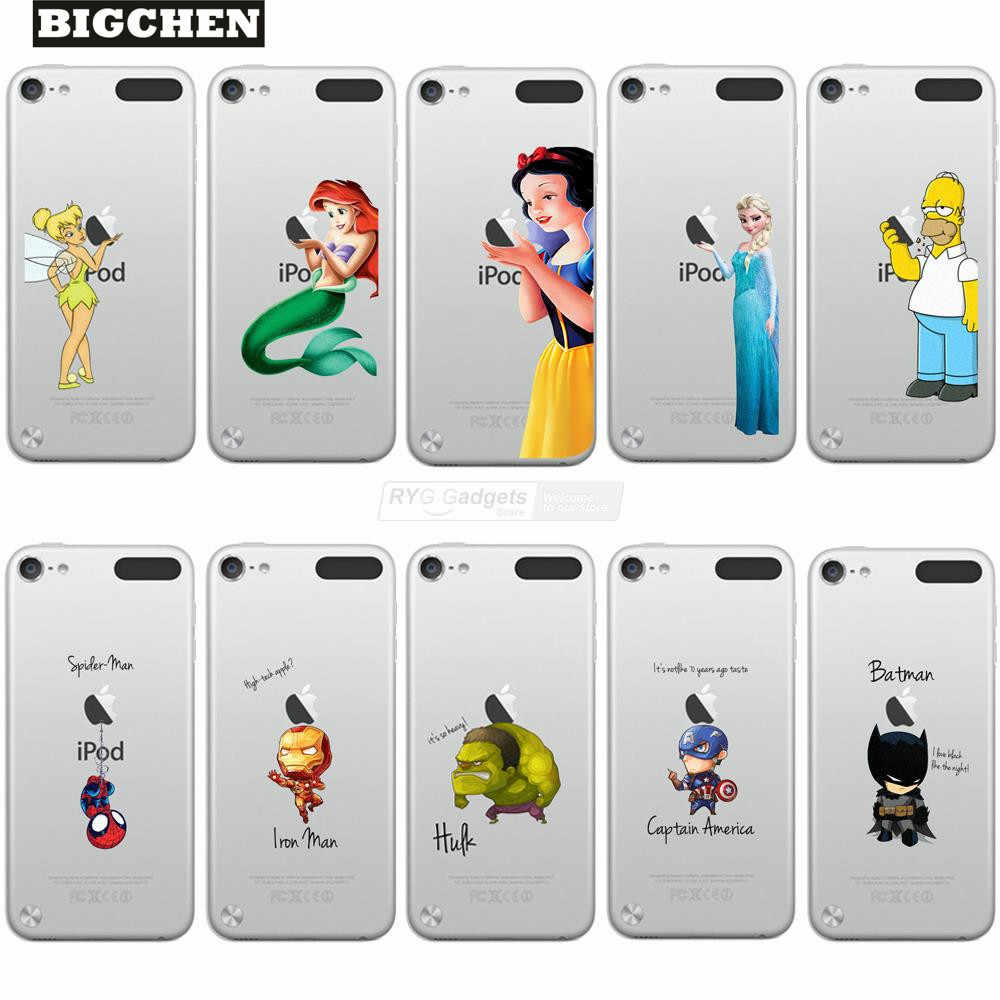 Princesa nieve blanca sirena Tinkerbell Marvel Heros pintado funda para Apple iPod Touch 5 5th funda