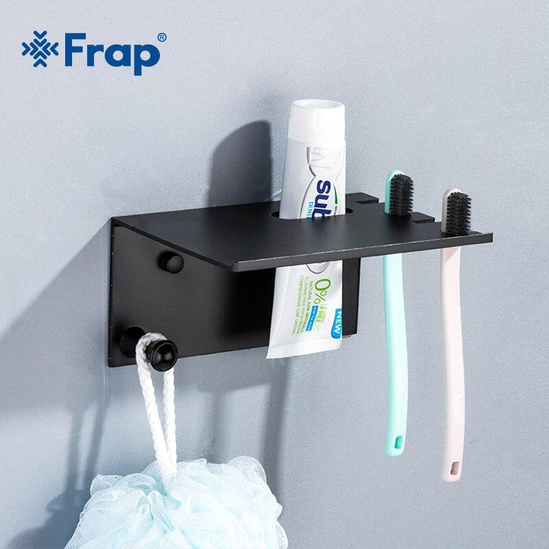 Frap Multi-function Shelf Rack Bathroom Shelves Toothbrush Holder Storage Rack Space Aluminum Black Shelves With Hooks Y18080
