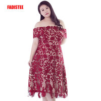 FADISTEE New arrival elegant prom party dress evening dresses plus size gown lace boat neck sleeveless simple satin short