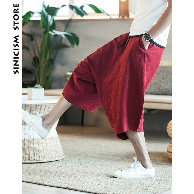 Sinicism 5XL Men's Wild Crotch Harem Pants Summer Baggy Pure Cotton Trousers Plus Size Male Wild-leg Loose Pants Drawstring 58