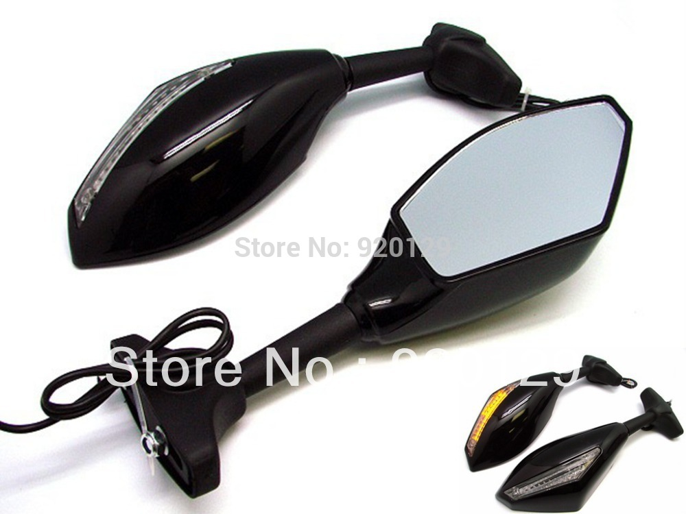 Motorcycle LED Turn Signals Integrated Mirrors for Kawasaki Ninja 250R 500 EX ZX6R ZX7 ZX9
