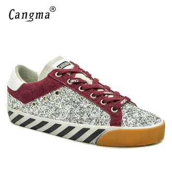 CANGMA Original Famous Brand Woman Shoes Silver Ladies Flats Handmade Glitter Sequined Sneakers Women Shoes Scarpe Donna 34-48