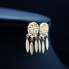2020 New Arrival Rushed Tin Alloy Aretes Brincos Oorbellen E1109 Europe And The Jewelry Bohemia Dreamcatcher Feather Earrings oorbellen zinc alloy rushed earing 2018 xionggui new arrival korean color rhinestones flower earrings piercing four leaf clover