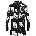 2016 inverno de alta qualidade de Veludo impresso longo trench coat dos homens, casaco de inverno dos homens, tamanho M, L, XL, XXL, XXXL, XXXXL