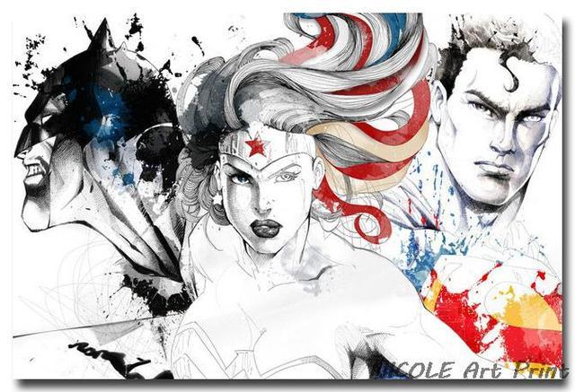 Плакат гобелен шелковый Бэтмен против Супермена арт
