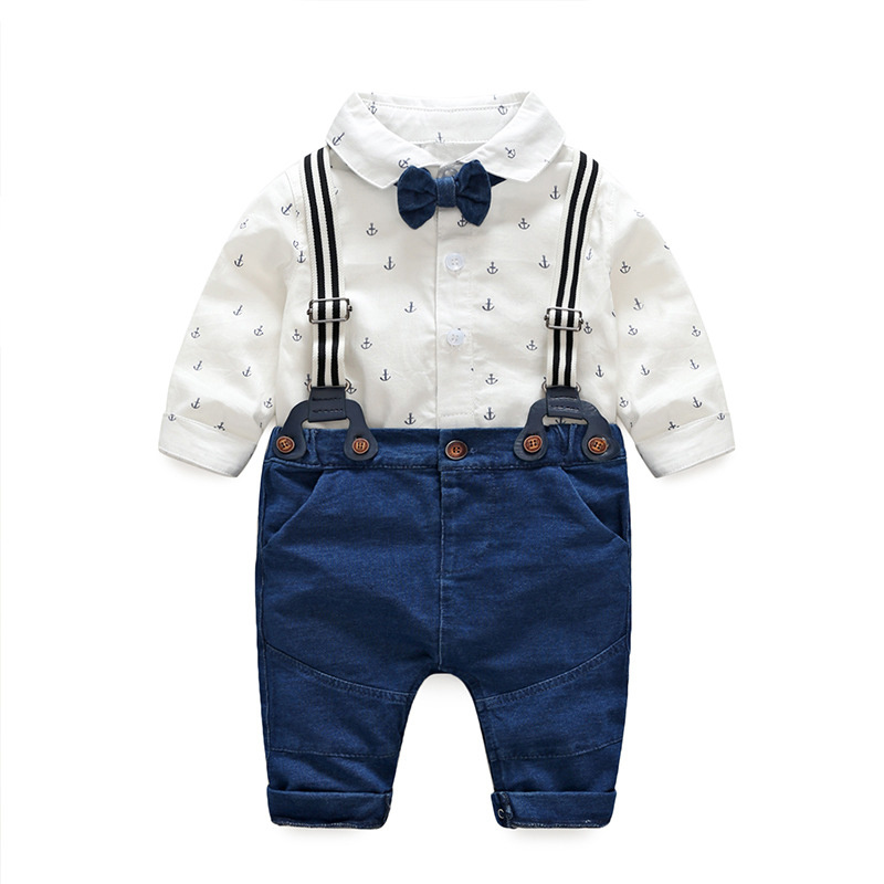 0beb2ed0f 2019 Casual roupa Do Bebê conjuntos de roupas infantis Do Bebê Meninos  Terno de algodão de manga Comprida bodysuit + calça + bow tie crianças  outono 2 pcs ...