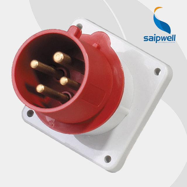 US $16 01 21% OFF|32A 400V 4P (3P+E) european industrial socket plug  connector wall mounted Splash Proof IP44 EN / IEC 60309 2 type SP819-in