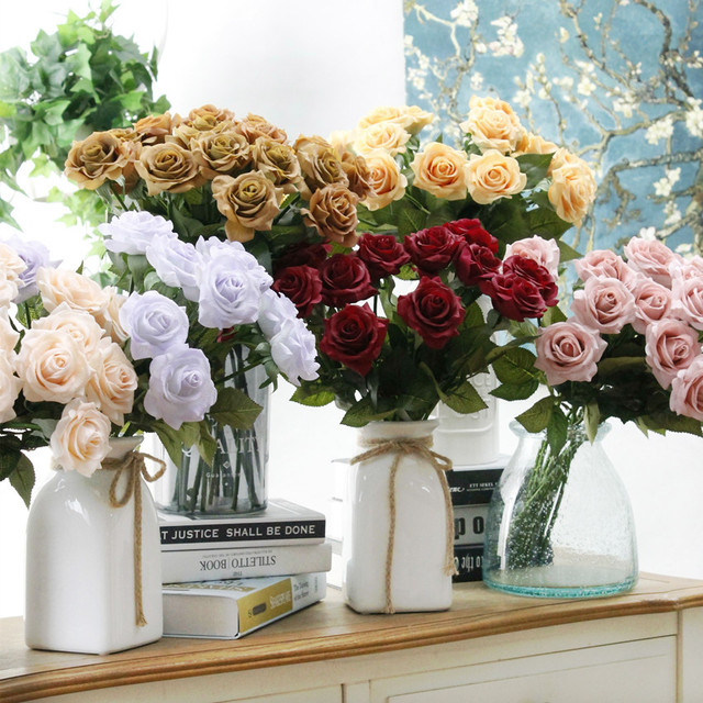 Artificial Rose Flowers Silk Latex Roses Various Colors 10 Stems For  Wedding Decorative Table Centerpieces Bridal