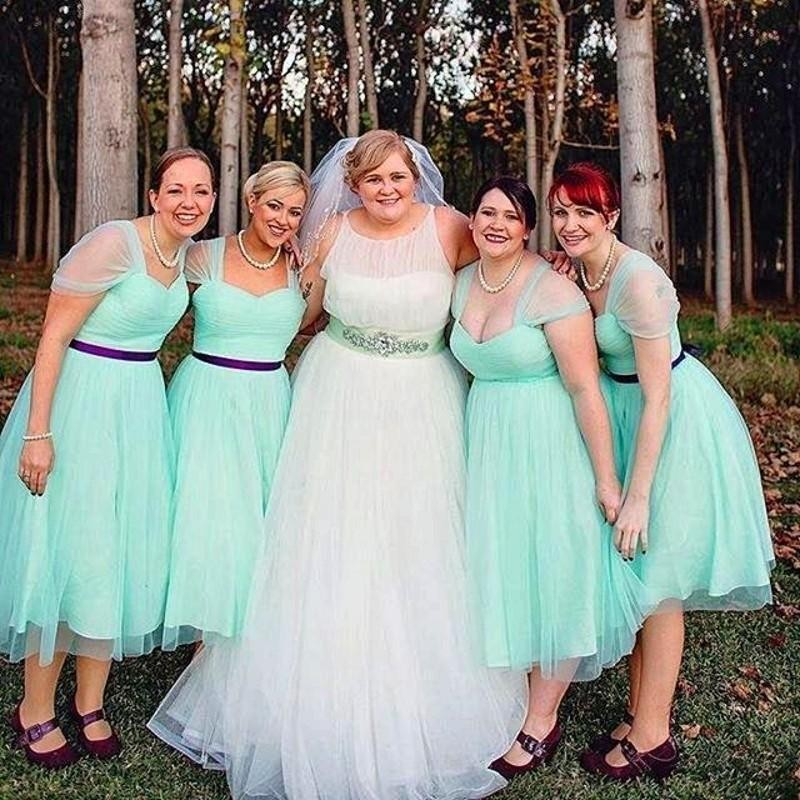 f4c2914a6f5 Mint Green Plus Size Bridesmaid Dresses A Line Sweetheart Shortsleeve Tea  Length Formal Gowns With Belt For Wedding Party